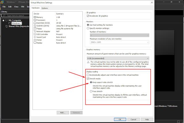 setting display vmware