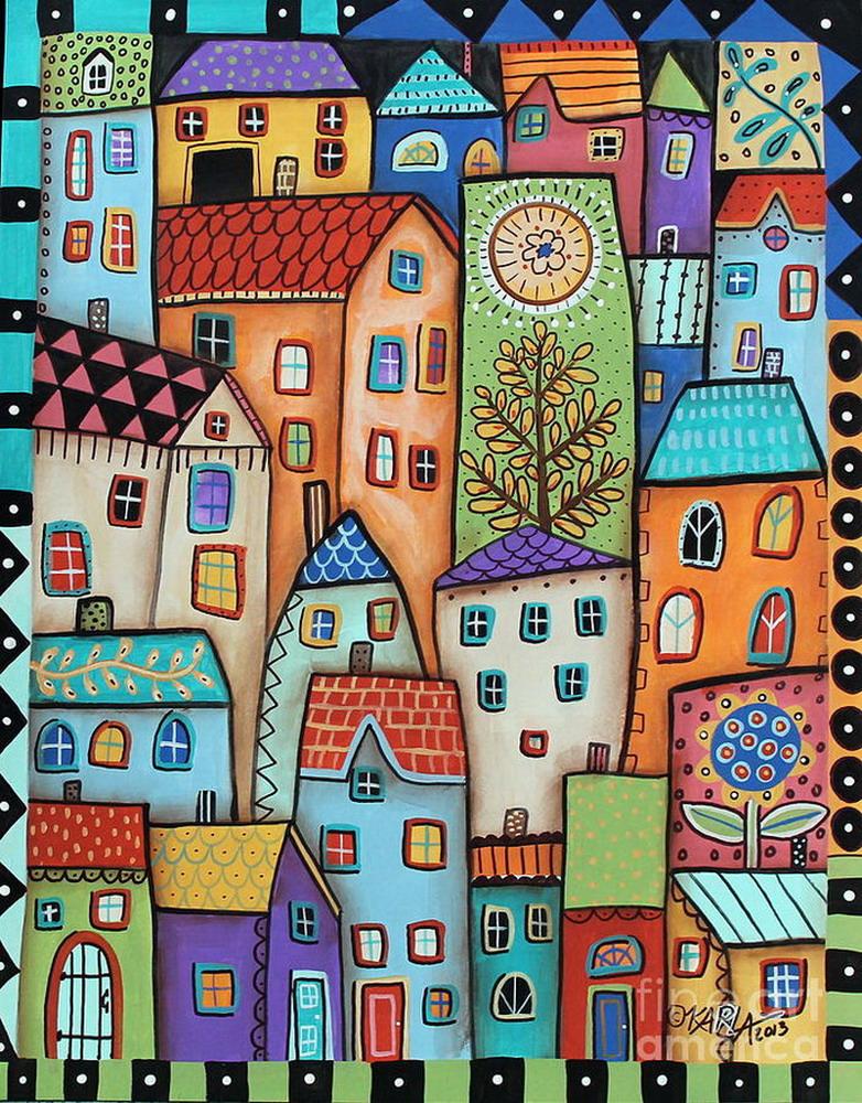 Im genes arte pinturas flores y paisajes naif en el arte for Funky house artists