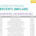 LISTADO DE PERSONAL DOCENTE JUBILADO A PARTIR DEL 1 DE AGOSTO DE 2019
