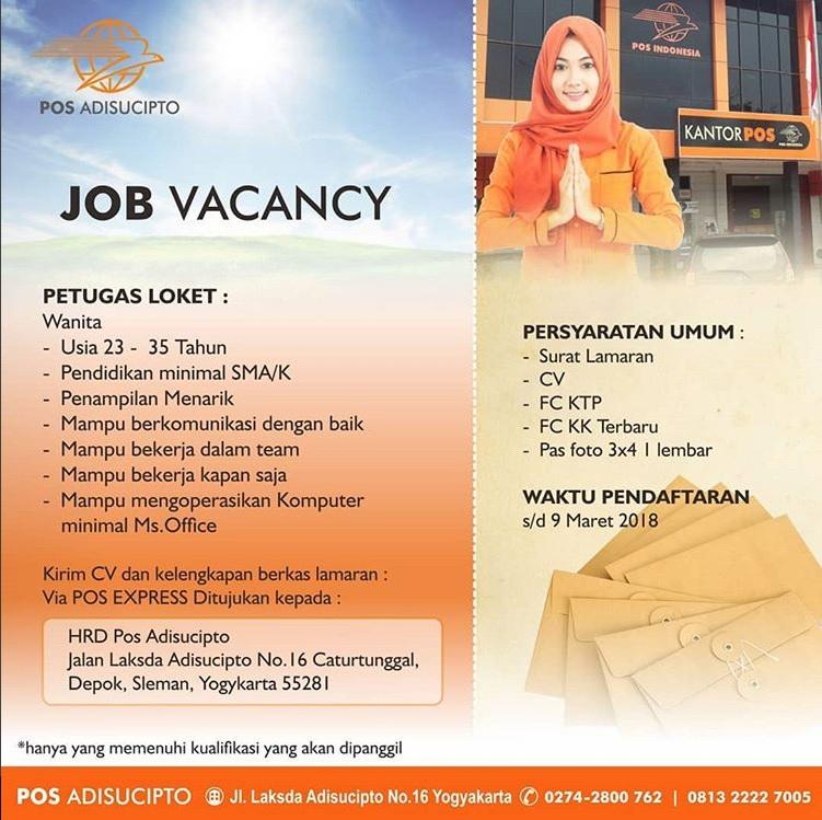 Melamar Lowongan kerja Petugas Loket Di Kantor Pos Adisucipto Yogyakarta Sampai Dengan 9 Maret 2018