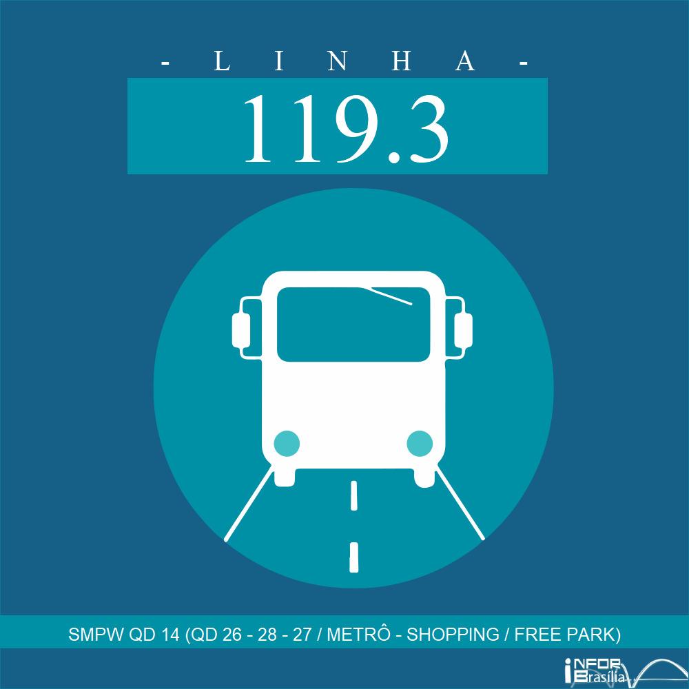 Horário de ônibus e itinerário 119.3 - SMPW QD 14 (QD 26 - 28 - 27 / METRÔ - SHOPPING / FREE PARK)