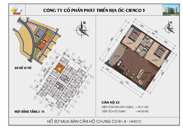Sơ đồ căn hộ 22 chung cư Thanh Hà Cienco 5 tòa HH01C căn 22