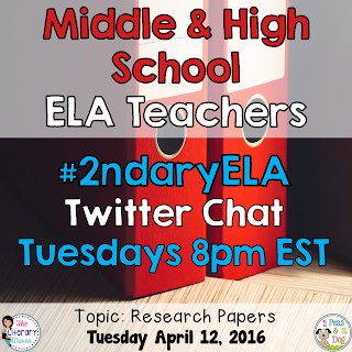 On Tuesday, April 12, our #2ndaryELA chat will focus on research papers.