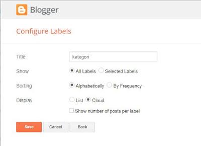 Mengatur Label pada blog
