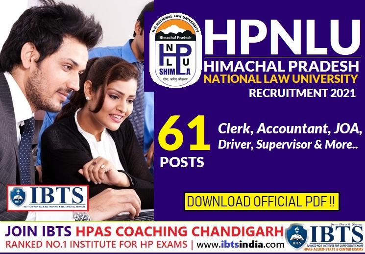 HPNLU Shimla Recruitment 2021- 61 Clerk, Accountant, JOA & Other Posts