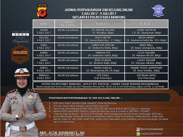 Jadwal Layanan SIM Keliling Polrestabes Bandung Bulan Juli 2017