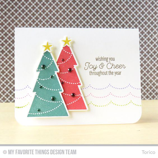 Handmade card from Torico featuring the Lisa Johnson Designs Trim the Tree stamp set and Die-namics #mftstamps