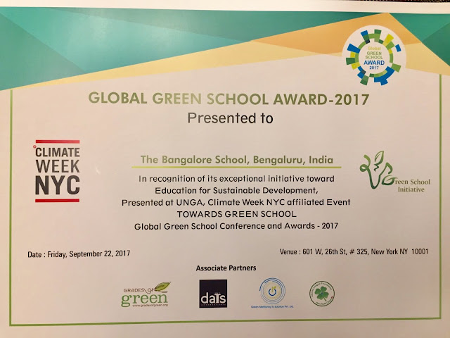 UN General Assembly awards The Bangalore School, Whitefield the prestigious Global Green School award