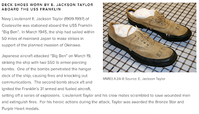 Screenshot of online exhibit panel with photo of deck shoes