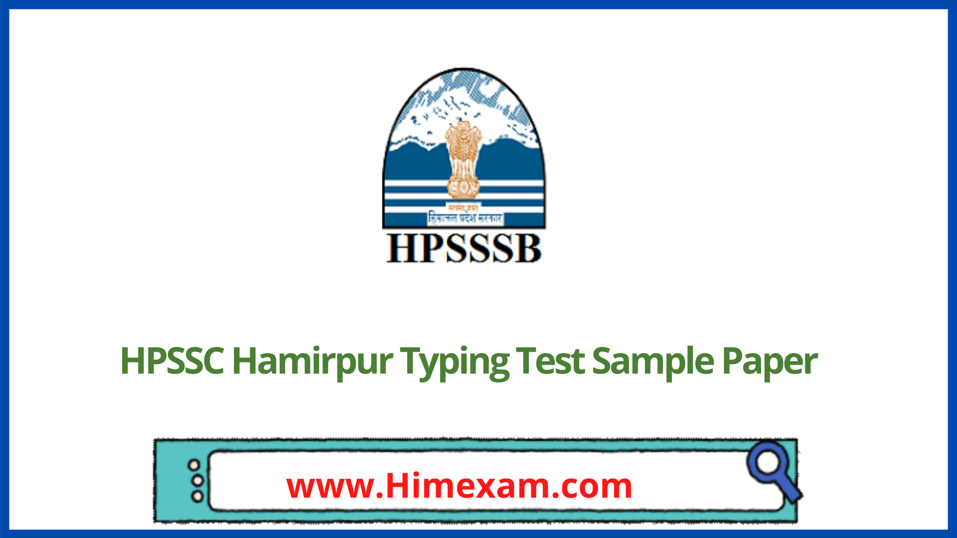 HPSSC Hamirpur Typing Test Sample Paper