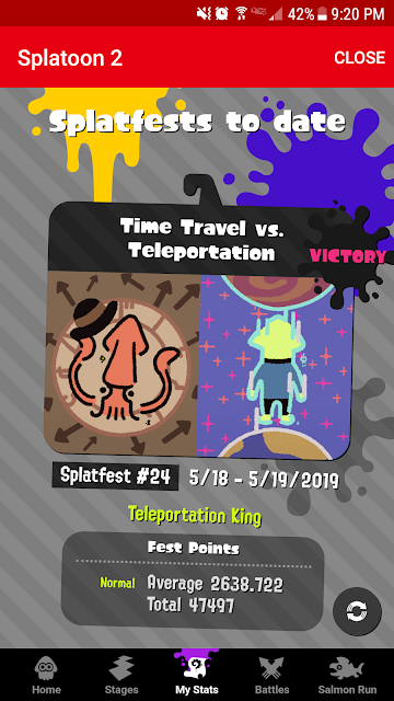 Splatoon 2 Teleportation King Splatfest results Nintendo Switch Online app