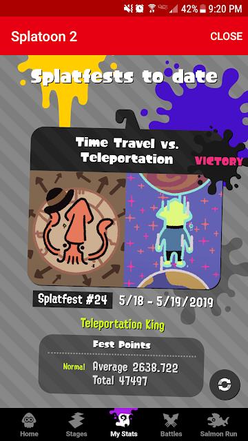 Splatoon 2 Teleportation King Splatfest results Nintendo Switch Online app