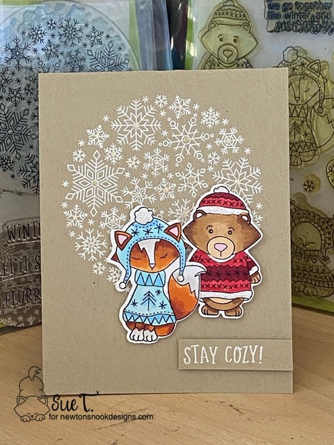 Stay Cozy by Sue T. features Sweater Weather and Snowfall Roundabout by Newton's Nook Designs; #newtonsnook, #cardmaking, #wintercards