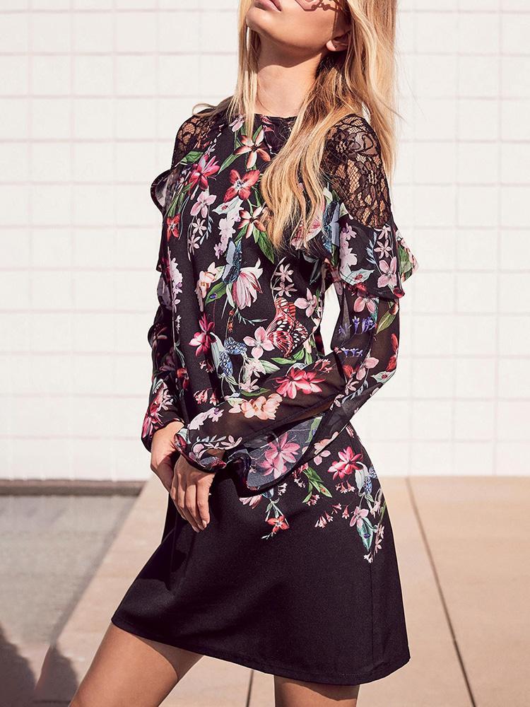 Lace Patchwork Floral Print Flounced Dress