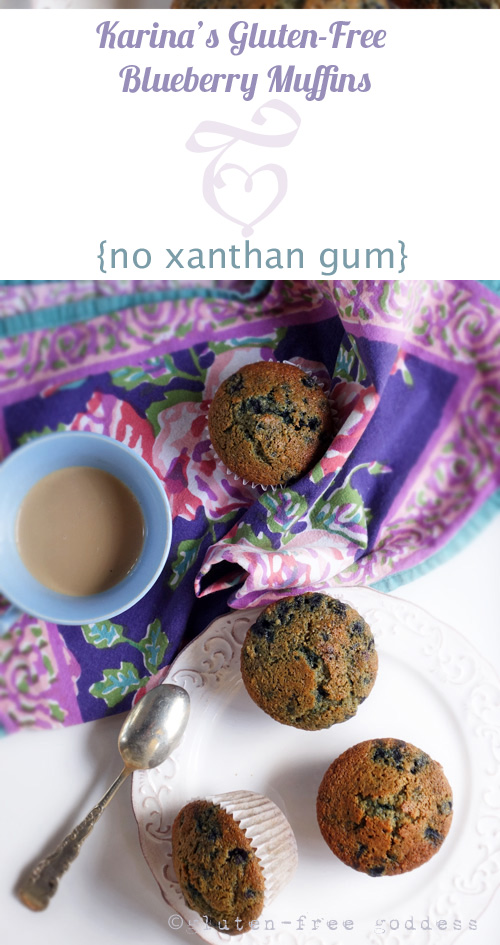 Deliciously gluten-free blueberry muffins without xanthan gum. From Karina, Gluten-Free Goddess.