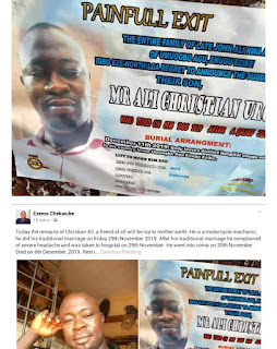 Nigerian Man Slips Into Com@ A Day After His Wedding, Dies 6 Days Later (Photo)