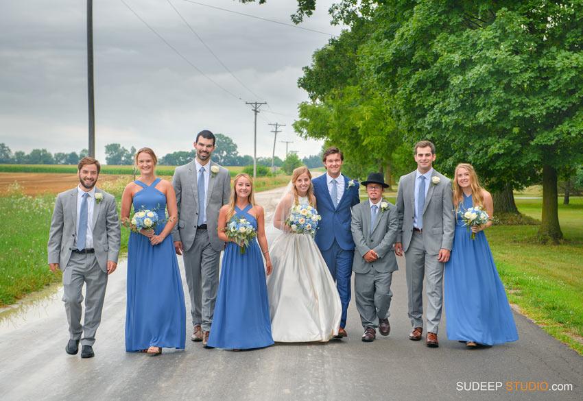 Rustic Farm Wedding Photography in Saline Dexter Groomsmen gray suit blue dress bridemaid by SudeepStudio.com Ann Arbor Wedding Photographer