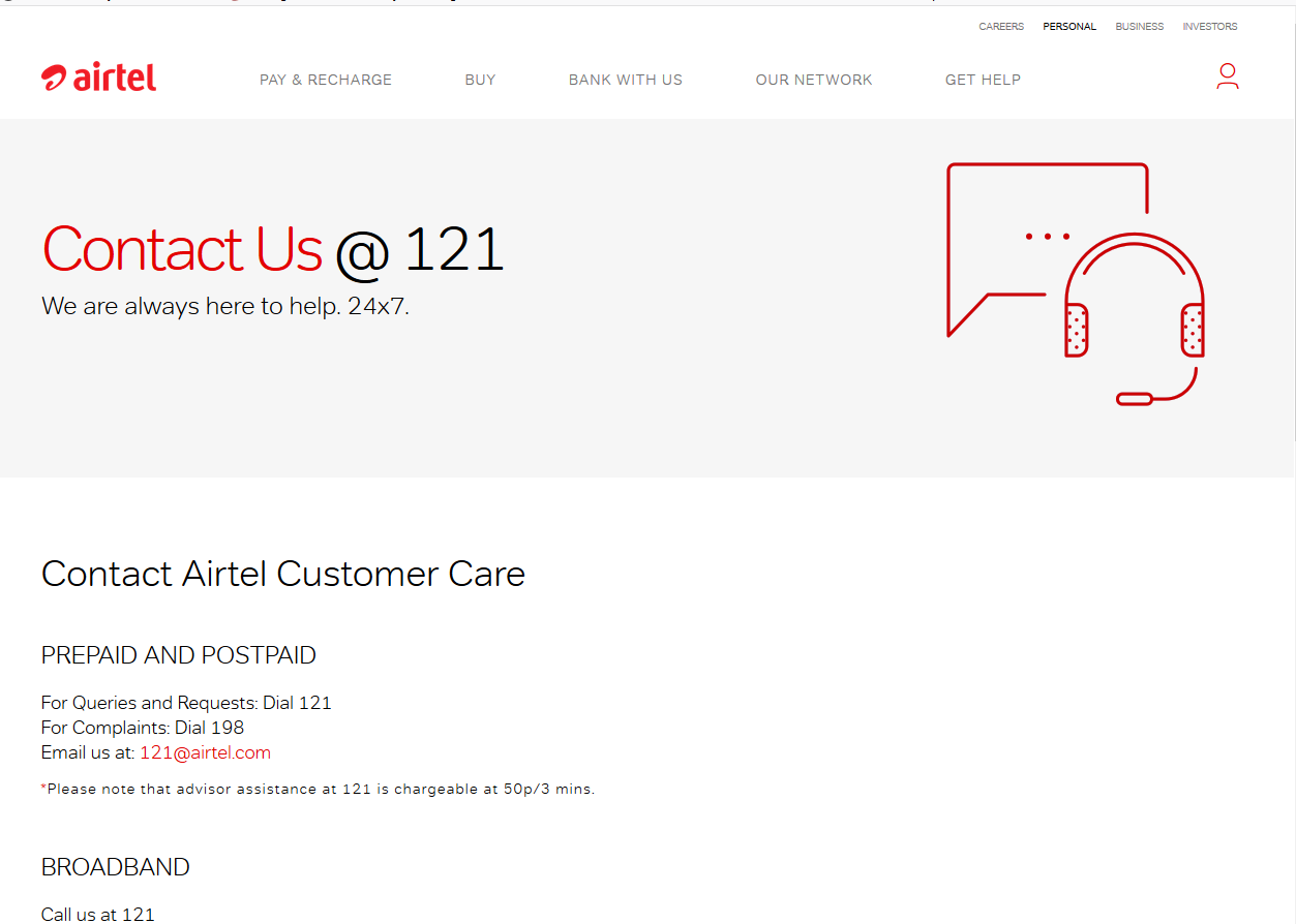 Airtel Customer Care Number | 121 Prepaid Toll-Free Phone