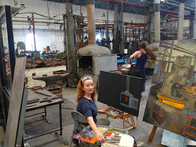 Jane Bennett, industrial heritage artist at the Australian Technology Park Open Day, Eveleigh