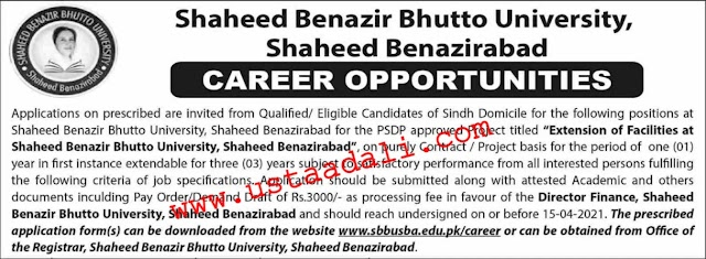 SBBU Jobs 2021- Shaheed Benazir Bhutto University Jobs (ONLINE APPLY)