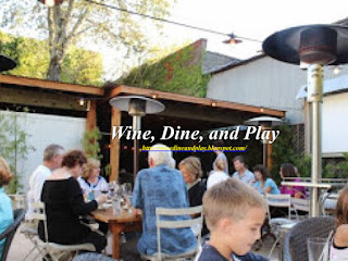 The back patio of the Harvest Moon Cafe in Sonoma, California with the Wednesday movie night
