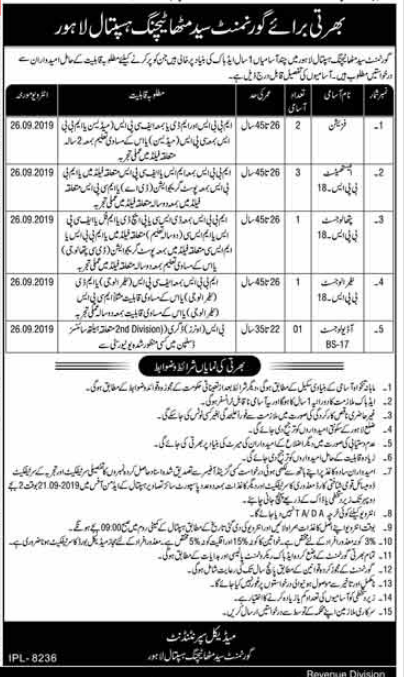 Advertisement for Government Syed Mitha Hospital Jobs September 2019