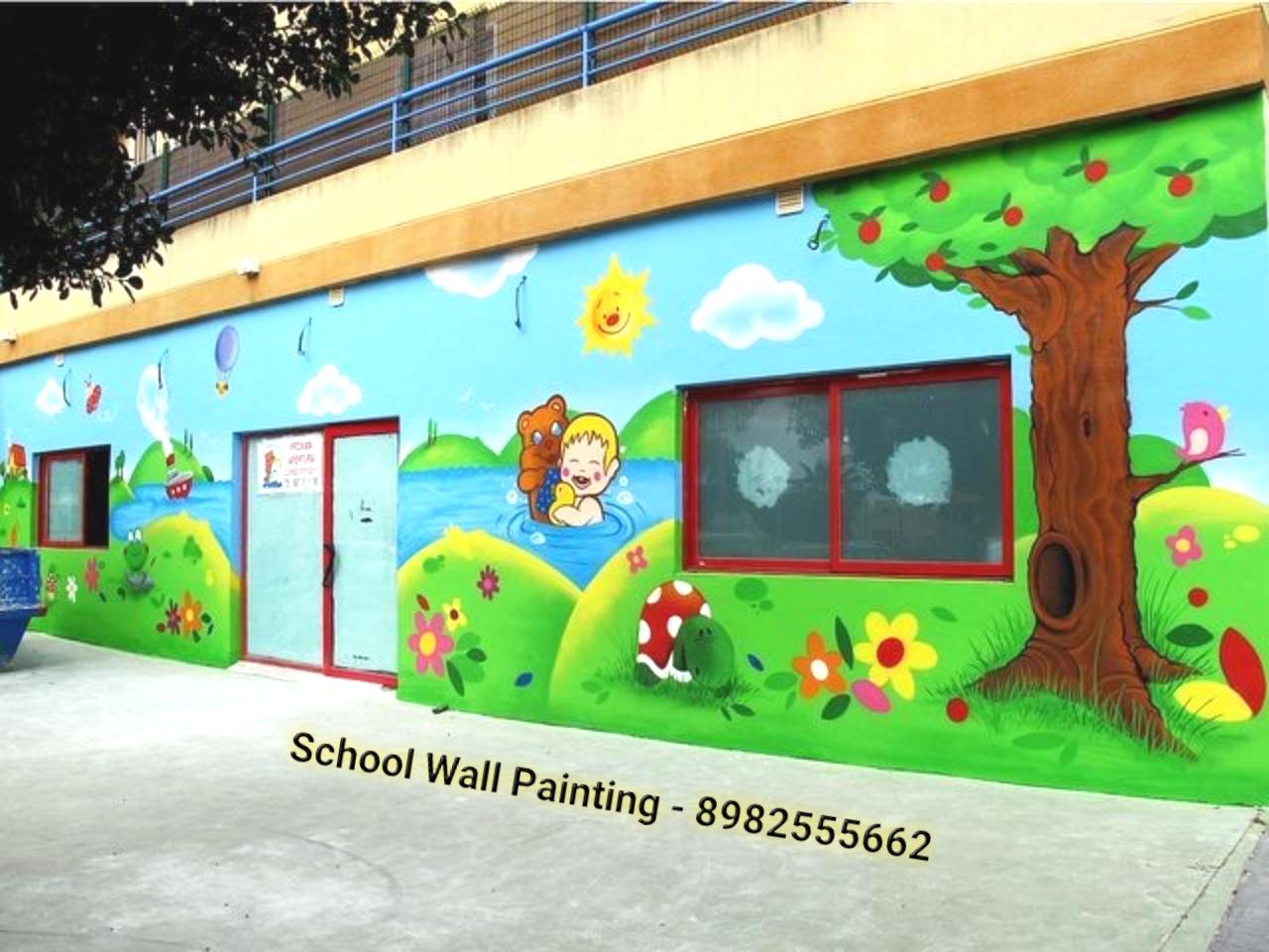 Playschool Wall Painting Nursery School Wall Painting Artist School Cartoon Painting Works Kids Room Wall Art Play School Wall Art Classroom Decoration