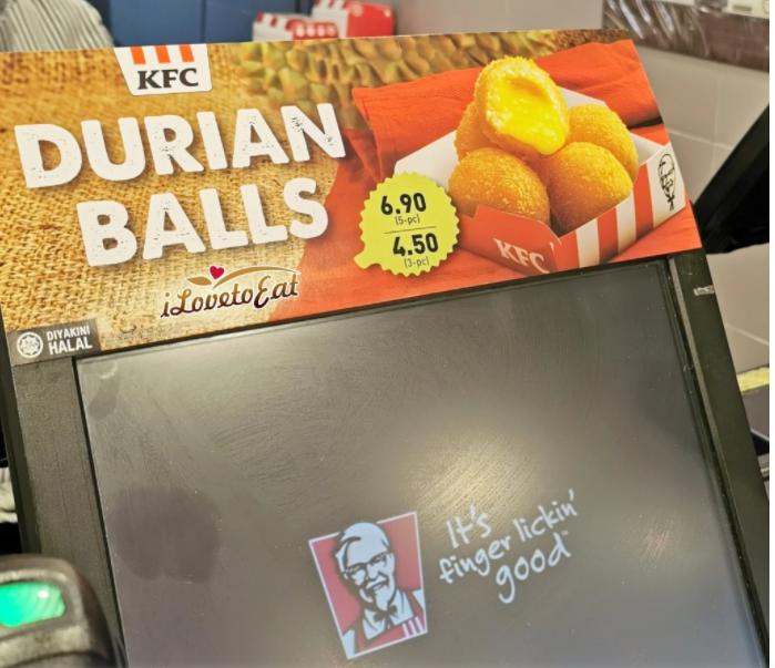 durian ball kfc,durian ball kfc review, harga durian ball kfc, food panda delivery, kfc new menu
