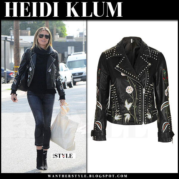 Heidi Klum in black leather embroidered jacket topshop what she wore