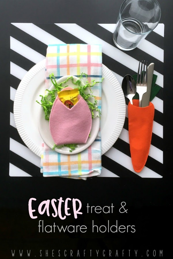 Make an easy to sew Easter Treat and Flatware holder for your Easter Table
