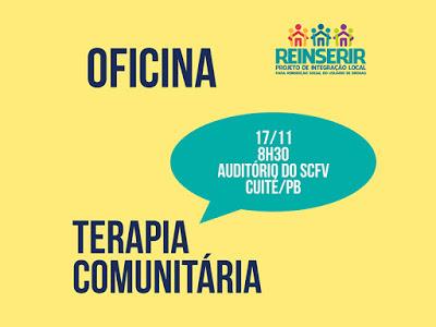 Reinserir promove oficina sobre Terapia Comunitária em Cuité nesta sexta (17)