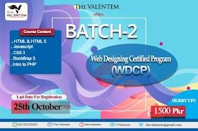 Batch-2 Web Designing Certified Program-2020 (WDCP-2020) The Valentem