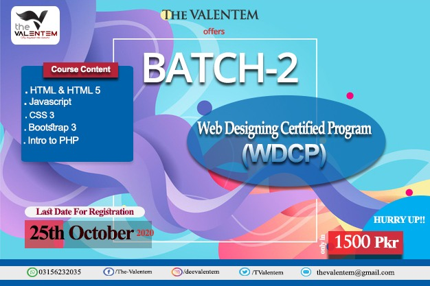 Batch-2 Web Designing Certified Program-2020 (WDCP-2020) The Valentem