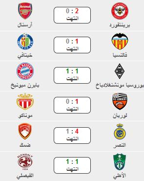نتائج أهم المباريات