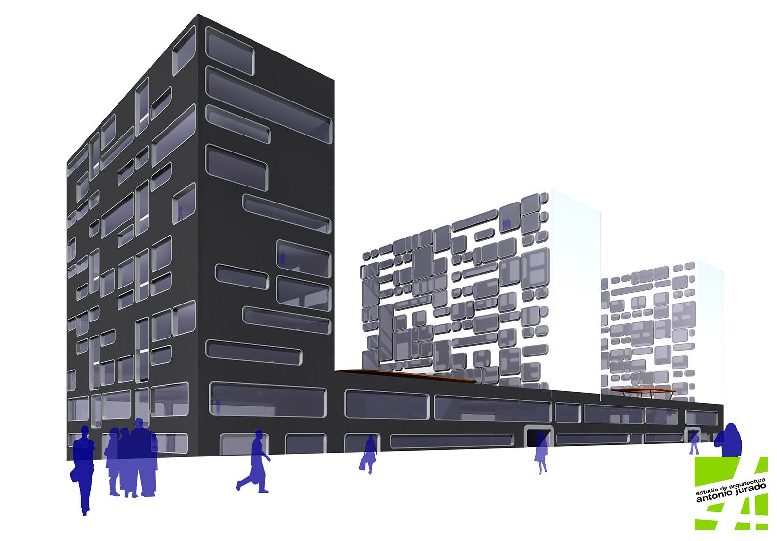 Edificio de viviendas y oficinas zaragoza estudio de for Oficinas correos zaragoza