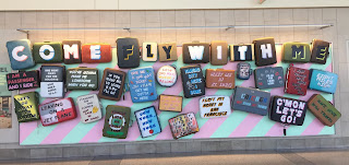 Art sculpture at the Philadelphia International Airport made from suitcases