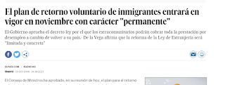 Noticia de plan de retorno voluntario de migrantes en 2008