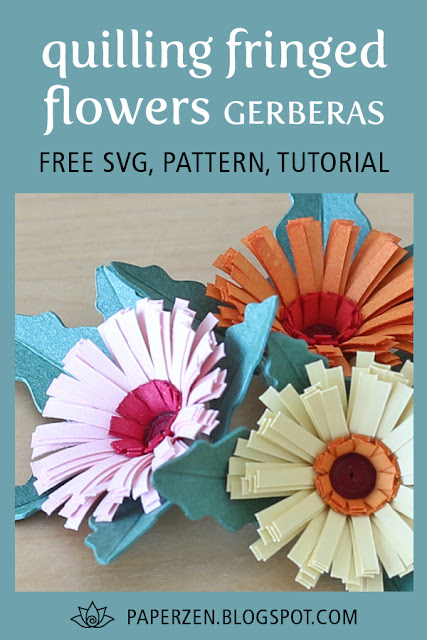 quilling fringed flowers gerbera tutorial pattern