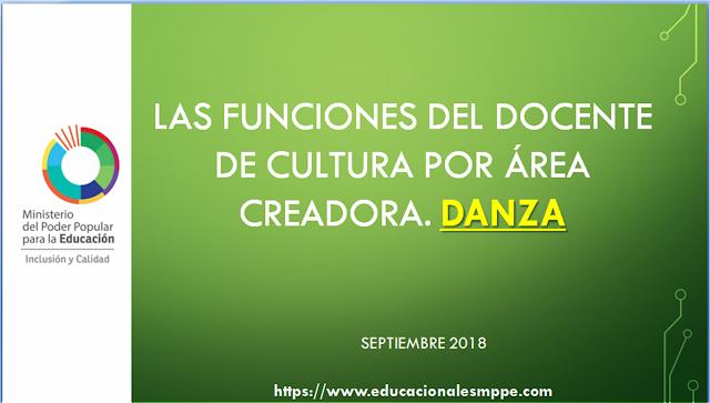 LAS FUNCIONES DEL DOCENTE DE CULTURA POR ÁREA CREADORA. DANZA