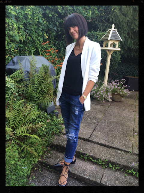 My Midlife Fashion, Zara, tuxedo jacket, relaxed fit jacket, distressed denim, ghillie lace up flats