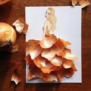 رسمة للفنان إيدجر باستخدام قشور البصل
