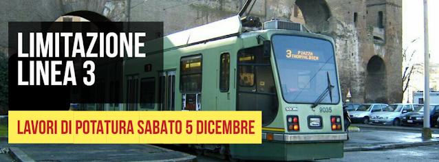 Sabato 5 dicembre linea tram 3 limitata a Piazza di Porta Maggiore