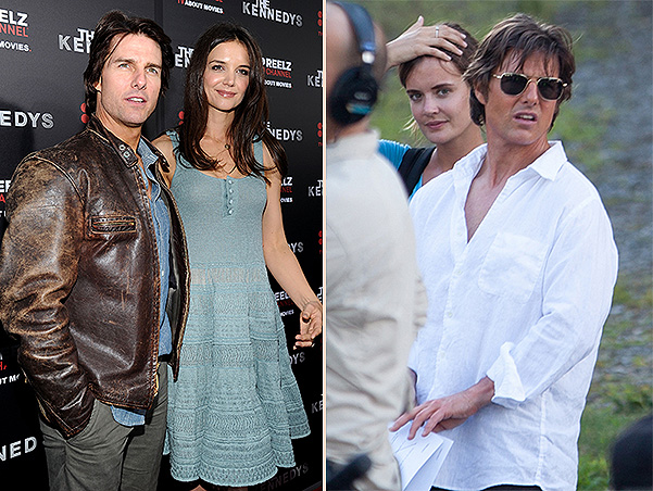 Tom Cruise to Katie Holmes in 2011 (left) and Emily Thomas in June 2015 (right)