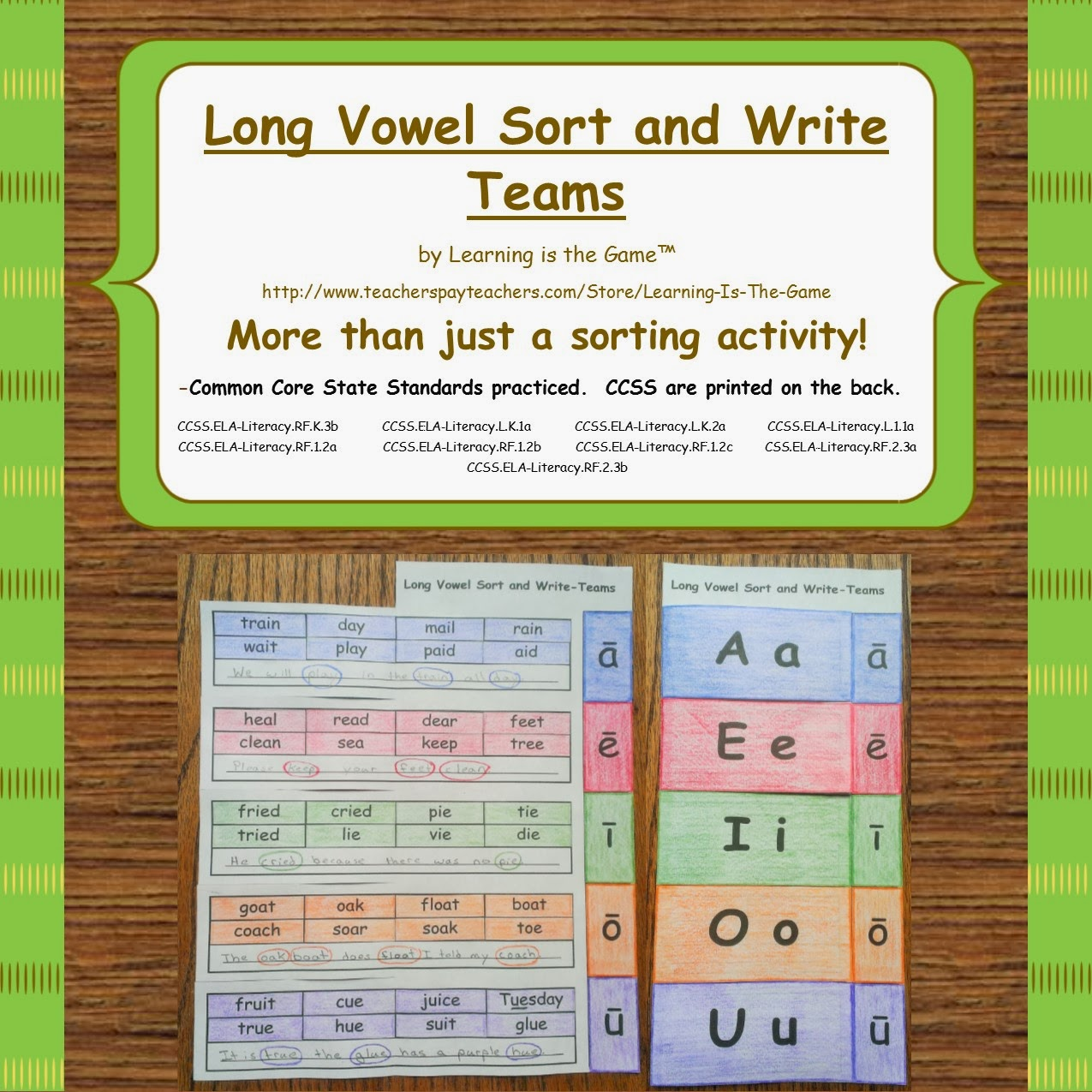 Learning Is The Game Long Vowel Sort And Write Teams