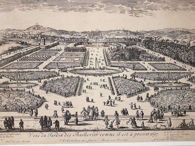 Le nouveau chemin vers Versailles apparaît au fond des Tuileries en 1697