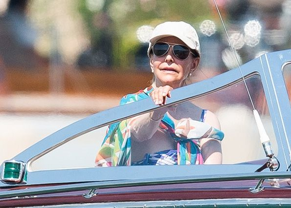 King Carl Gustaf and Queen Silvia  on holiday at the L'Escalet Beach in Ramatuelle, near St-Tropez