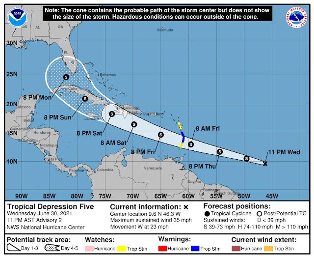Pudiera formarse este jueves la tormenta tropical Elsa