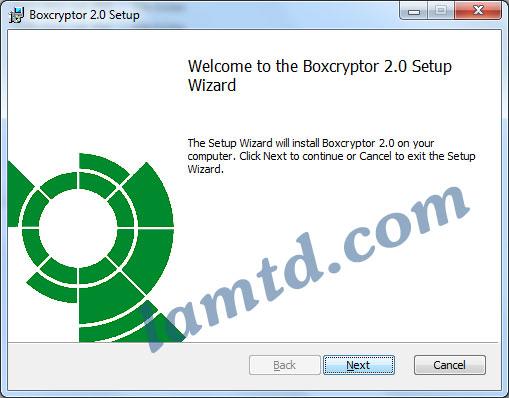 cài đặt phần mềm mã hóa Boxcryptor