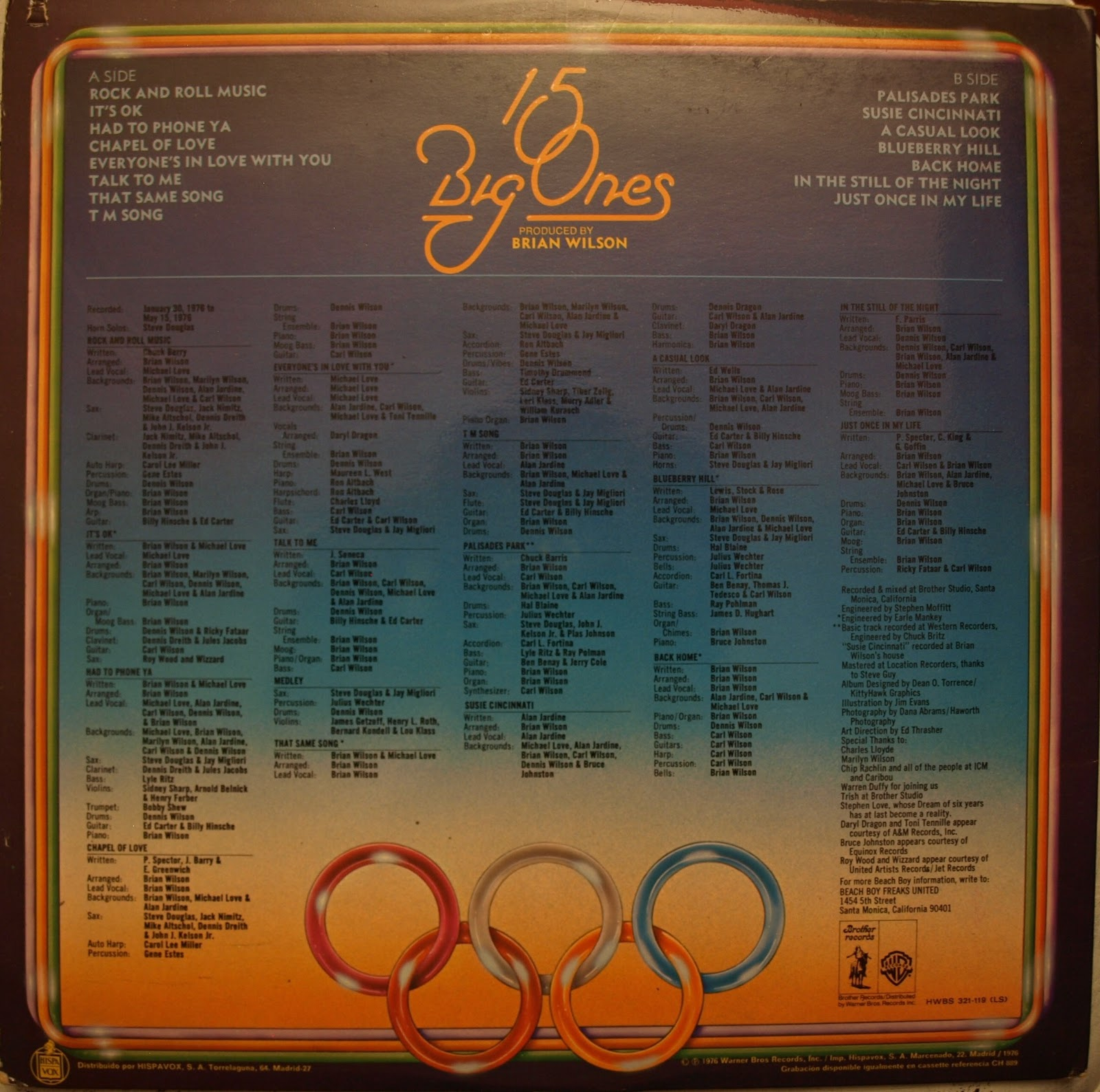 ELO Related Vinyl  Beach Boys - 15 Big Ones - Lp - España 0c6f059d661