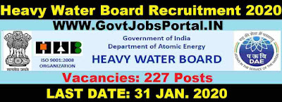 Heavy Water Board Vacancy 2020